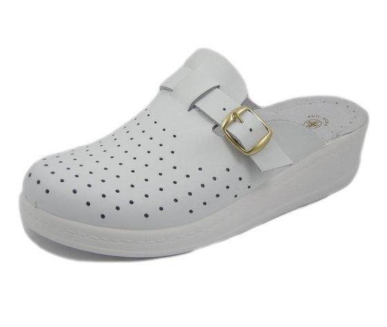 Ciabatta Pantofola Sanitaria e da Lavoro Donna in Pelle Bianco, Sanital Light 372