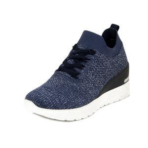 Cinzia Soft, Sneaker Donna Comfort in Tessuto Semi Elasticizzato Blu, Zeppa Media 5 cm, Plantare Estraibile, 616597