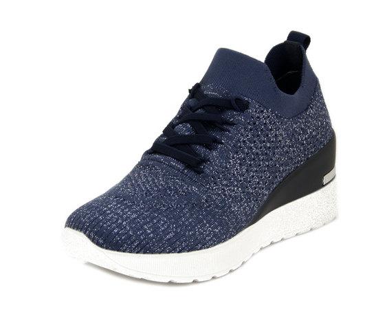 Cinzia Soft, Sneaker Donna Comfort in Tessuto Semi Elasticizzato Blu, Zeppa 6,5 cm, Plantare Estraibile, 616597