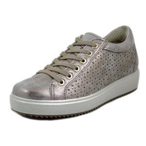 IMAC, Scarpe Donna Sneaker in Pelle Beige Laminato Platino, Zeppa Bassa Interna, Plantare Estraibile, 707410