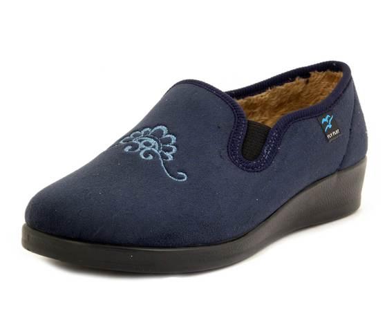 Fly Flot, Pantofole Donna Chiuse Invernali in Tessuto Blu, Imbottitura in Calda Pelliccetta, Zeppa Bassa, N3Q12