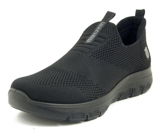 Laura Azaña, Scarpe Donna da Ginnastica Sneaker in Tessuto Elasticizzato Nero, Plantare Memory Estraibile, 24504