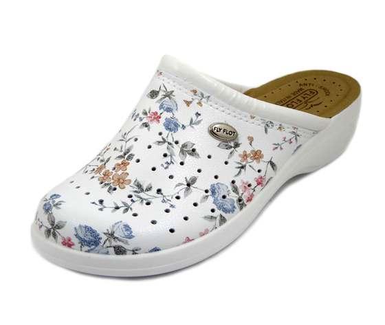 FlyFlot, Ciabatte Pantofole Donna Estive Chiuse in Eco Pelle Bianco Fantasia Floreale, Zeppa Bassa, T5B23