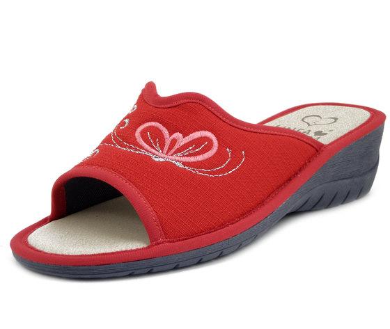 Linea Comoda, Ciabatte Pantofole Estive Donna in Tessuto Rosso, Zeppa Bassa, 4993