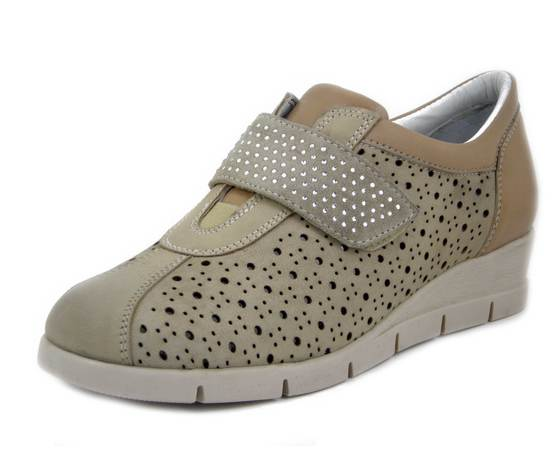 Kelidon, Sneakers Donna Linea Comfort in Pelle Beige, Chiusura Strap, Zeppa Medio Bassa