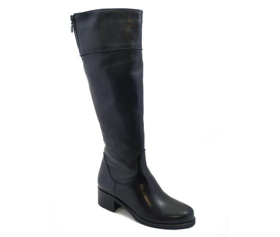 Osvaldo Pericoli, Stivali Donna al ginocchio in Pelle Nero, Tacco Basso 4 cm, Made in Italy