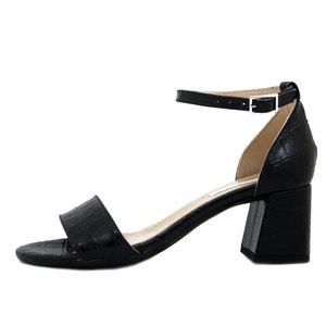 Osvaldo Pericoli, Sandali Donna in Pelle Nero Stampa Cocco, Cinturino alla caviglia, Tacco Medio 6 cm, Made in Italy