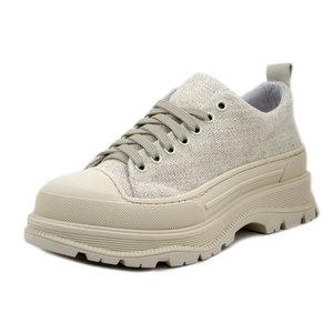 Osvaldo Pericoli, Sneaker Donna in Pelle e Tessuto Beige, Plantare Estraibile, Made in Italy