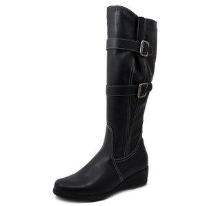 Cinzia Soft, Stivali Donna al ginocchio Linea Comfort in Pelle Nero Zeppa Bassa 4 cm, Gambale Regolabile XL, 90133