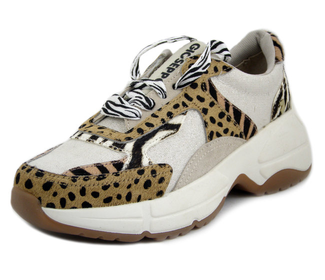 GIOSEPPO, Sneakers Donna in Tessuto e Camoscio Panna e Cavallino Animalier, 58721