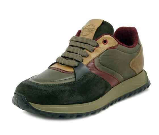 EXTON, Scarpe Sneaker Uomo Casual in Pelle Multicolore Verde e Marrone, Plantare Estraibile, Made in Italy 753