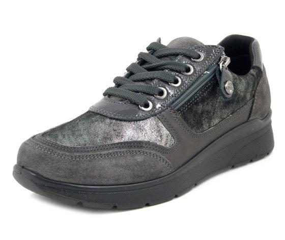 IMAC, Sneaker Donna Linea Comoda in Pelle Grigio con cerniera, Zeppa Bassa, Plantare Estraibile, 806951