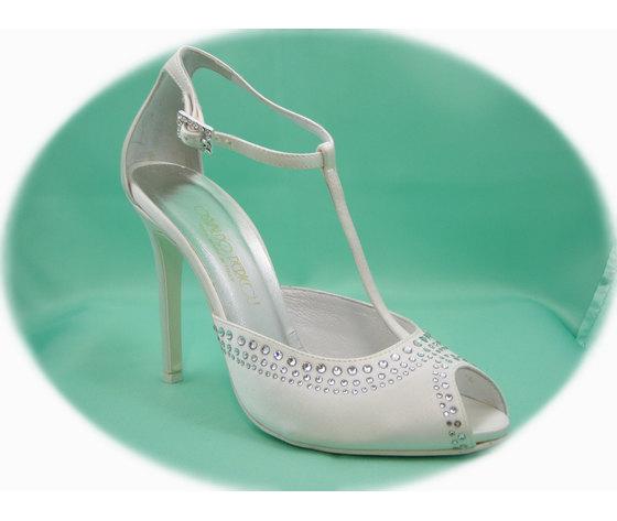 SCARPA DA SPOSA Osvaldo Pericoli, Sandalo spuntato in raso seta avorio con Tacco Alto 10 cm, Made in Italy