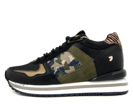 GIOSEPPO, Sneaker Donna in Ecopelle e Tessuto Nero e Multicolore, Zeppa interna, 64388