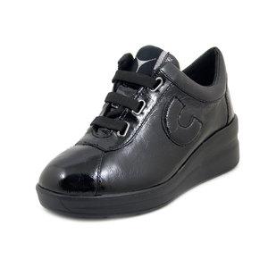 CINZIA SOFT, Sneaker Donna Comfort con cerniera in Pelle Lucida Nero, Zeppa Bassa, Plantare Estraibile, 14140