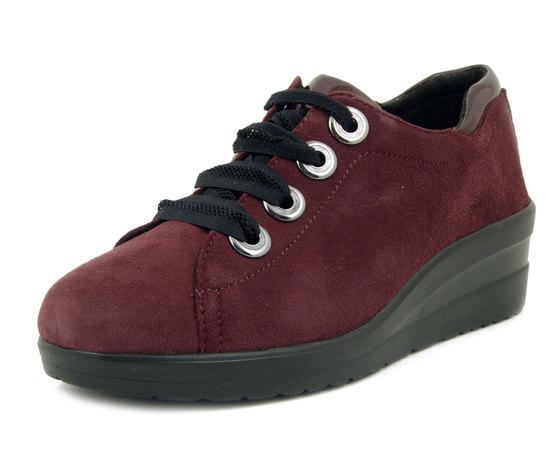 CINZIA SOFT, Sneaker Donna Comfort in Pelle Camoscio Rosso Bordeaux, Zeppa Medio Bassa,  Plantare Estraibile, 15438