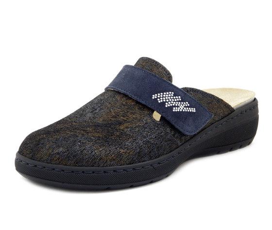 STILEDIVITA , Pantofola Ciabatte Donna in Pelle Blu Fantasia con Strap, Zeppa Bassa, Plantare Estraibile, 8418