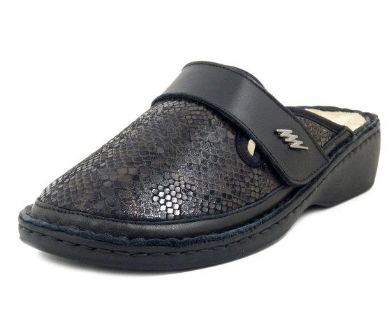 STILEDIVITA , Pantofole Ciabatta Donna in Pelle e Tessuto Elasticizzato Nero, Plantare Estraibile, Pianta Larga, 8414