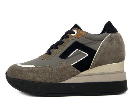 Osvaldo Pericoli, Sneaker Donna in Pelle e Tessuto Beige Taupe, Zeppa Media, Plantare Estraibile, 3824