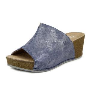 ATEMA, Sabot Spuntato Ciabatta in Pelle Blu Jeans, Zeppa Media e Plateau, Pianta Comoda, 7753
