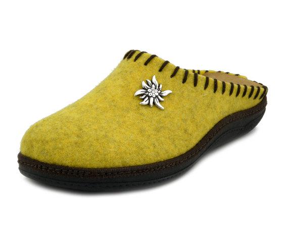 Michelle, Pantofola Donna invernale in Feltro Lana Giallo, Plantare in Pelle Estraibile, ROSITA
