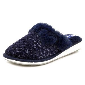INBLU, Pantofole Donna invernali in Caldo Tessuto Blu, Zeppa Bassa, LB90