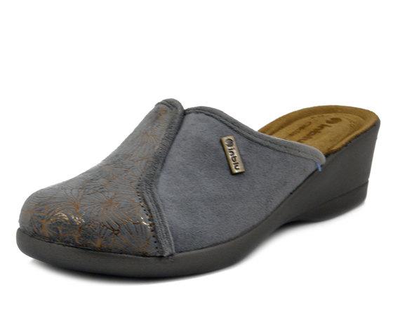 INBLU, Pantofole Donna invernali in Caldo Tessuto Grigio, Sottopiede Soft Vera Pelle, Zeppa Media, DE09