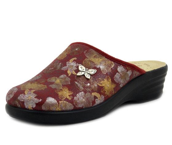 FlyFlot, Pantofole Donna Invernali in Eco Pelle Rosso a Fiori, Sottopiede Vera Pelle, Zeppa Media Bassa, L8P44