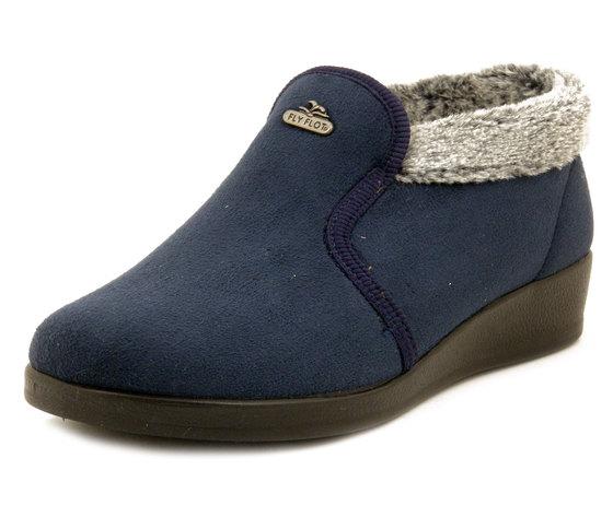 FlyFlot, Pantofole Donna Chiuse Invernali Stivaletto in caldo tessuto Blu, Fodera in Calda Pelliccetta, Zeppa Bassa, N3771