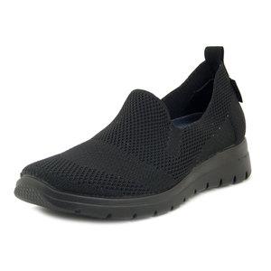 FlyFlot, Sneaker Estive in Tessuto Semi Elasticizzato Nero, Plantare Estraibile in Memory Foam, Zeppa Bassa, 27D38