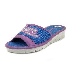 Linea Comoda, Ciabatta Pantofole Estive Aperte Donna in Tessuto Blu Jeans e Lilla, Zeppa Bassa, 3477