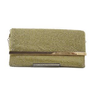 Pochette Clutch con strass, Tracolla sganciabile a catena, in 3 colori: Oro, Nero, Rosa