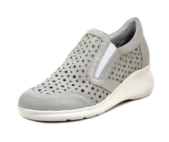 Soffice Sogno, Scarpe Donna Slipon Sneakers in Pelle Grigio Argento, Zeppa Bassa, Plantare Estraibile