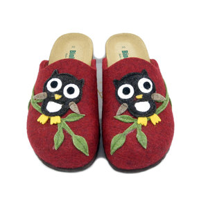 BIONATURA, Pantofola Donna invernale in Feltro Lana Rosso con Gufo Multicolore, Made in Italy GUFO