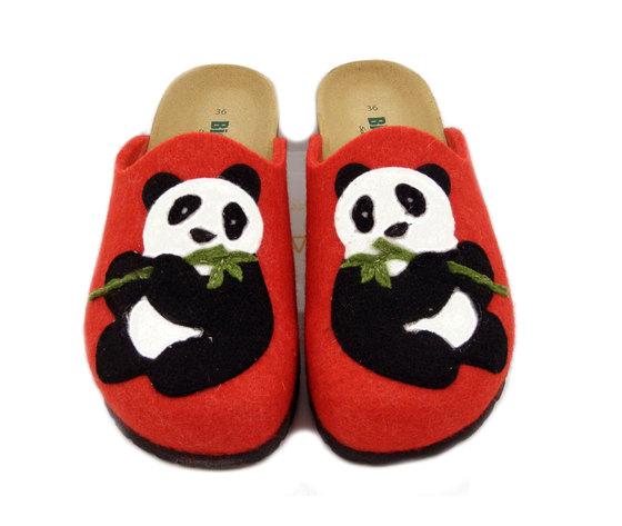 BIONATURA, Pantofola Donna invernale in Feltro Lana Rosso e Multicolore con Panda, Made in Italy 12PANDA