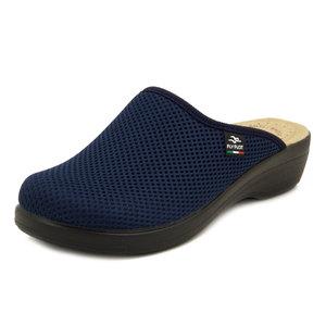 FlyFlot, Ciabatte Pantofole Donna Chiuse in Tessuto Blu, Sottopiede in Vera Pelle, Zeppa Bassa, T5368