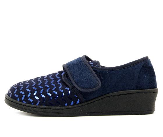 Michelle, Pantofole Chiuse Donna Invernali in Tessuto Elasticizzato Blu, Chiusura Strap, AGNESE73