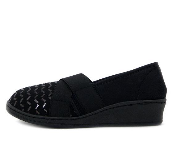Michelle, Pantofole Chiuse Donna Invernali in Tessuto Elasticizzato Nero, AGNESE63