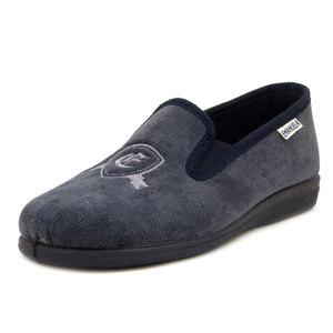 Emanuela, Pantofole Uomo Invernali Chiuse Mocassino in Tessuto Blu, Suola Antiscivolo, 968