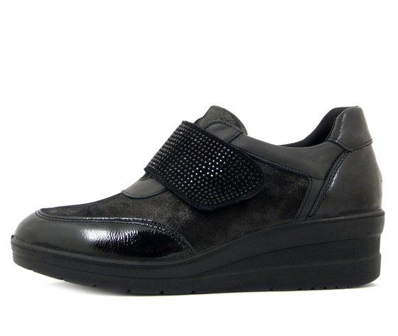 IMAC, Sneaker Donna Comfort in Pelle Nero, Chiusura  con Strap, Zeppa Media, Sottopiede Estraibile, 806680