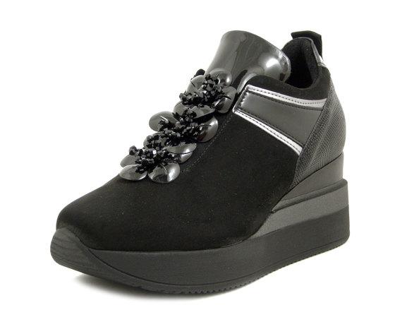 Osvaldo Pericoli, Sneakers Slip on Donna Gioiello in Eco Camoscio Nero, Zeppa Media, Plantare Estraibile, 3970