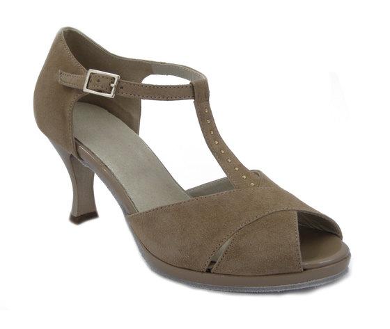 Osvaldo Pericoli, Scarpe Sandalo da ballo in Camoscio e Pelle Beige, Tacco medio 7 cm e Plateau,112
