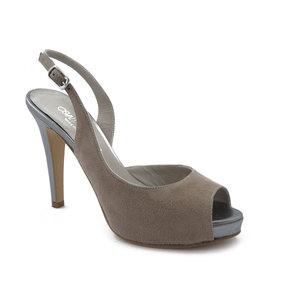 Sandalo Donna in Pelle Camoscio Beige, Tacco Alto 11 cm e Plateau, Made in Italy