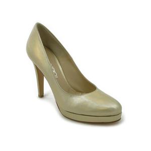Osvaldo Pericoli Scarpe Donna Decollete in Pelle Oro Platino, Tacco Alto  11 cm e Plateau 1,5 cm, Lavorazione Artigianale