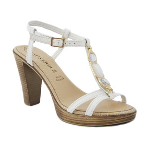 Sandalo gioiello Prativerdi in pelle, con tacco 10cm. e plateau 1,5cm., sottopiede imbottito e suola in gomma antiscivolo, estivo-3171913