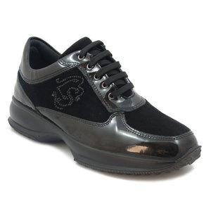 Imac Scarpa donna, sneaker in camoscio e pelle lucida colore nero, sottopiede estraibile e suola in gomma antiscivolo, 62530 i16