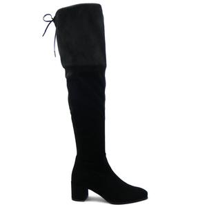 Osvaldo Pericoli, Stivale donna, modello sopra al ginocchio in ecocamoscio elasticizzato nero, tacco 5cm.-4688-i16