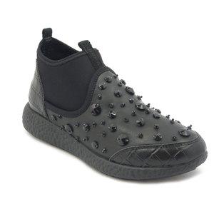 24 H., sneaker in pelle e tessuto elasticizzato nero,sottopiede estraibile - A301AA i16