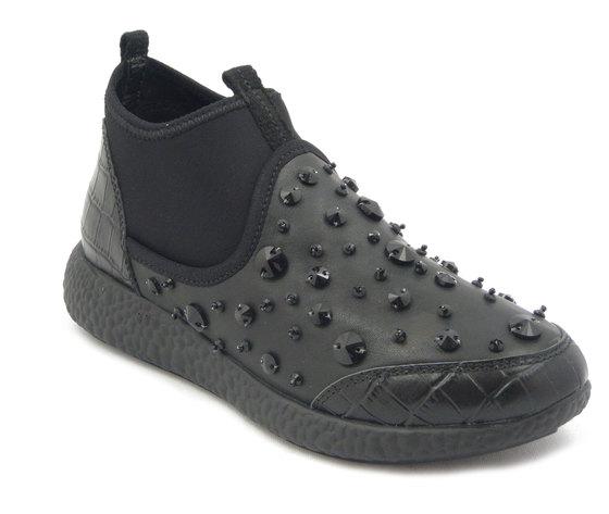 Sneaker Donna in pelle e tessuto elasticizzato nero,sottopiede estraibile - A301AA i16
