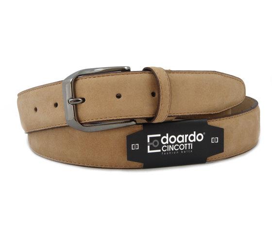 Edoardo Cincotti Cintura uomo in morbida pelle nabuk colore beige Mandorla - J972y
